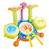 MousePotato Dynamic Musical Drum Set with Flashing Lights for kids with Mic
