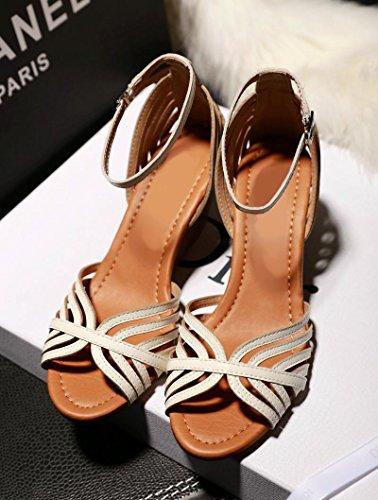 Sommer Damen Leder Schuhe Sommer Sandale Fisch Mund, 43 White-6.5 cm high heel