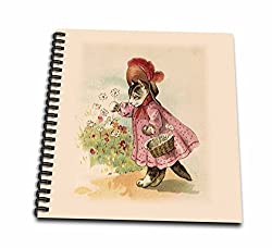 3dRose db_38106_1 Cute Victorian Cat in Pink Dress-Drawing Book, 8 by 8-inch