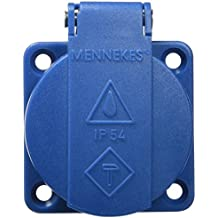 Mennekes 101700019 Bases Schuko Borna Rápida 16 A / 230 V, Tomas de Corriente Schuko, IP 54 Grado de Protección, Azul