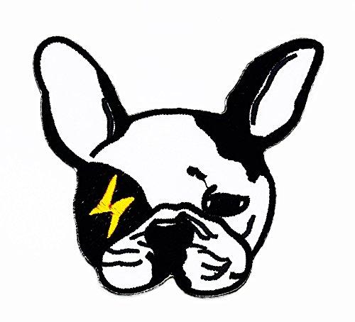 rabana Französische Bulldogge Hund Cartoon Kids Kinder Cute Animal Patch für Heimwerker-Applikation Eisen auf Patch T Shirt Patch Sew Iron on gesticktes Badge Schild (Lustigen In Kostümen Bulldogs)