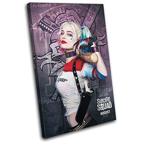 (Bold Bloc Design - Suicide Squad Harley Quinn Movie Greats 90x60cm SINGLE Leinwand Kunstdruck Box gerahmte Bild Wand hangen - handgefertigt In Grossbritannien - gerahmt und bereit zum Aufhangen - Canvas Art Print)