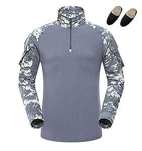 haoYK Combat militaire T-shirt de Paintball avec poches T-shirt BDU à manches longues Airsoft Chemise tactique de camouflage pour hommes avec Coudières