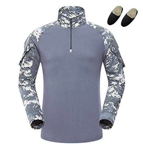 SGOYH Airsoft Paintball BDU Langarmhemd Taktisch Camo T-Shirts mit Ellbogenschutz für Schießen Jagd War Game Armee Airsoft Paintball (L,ACU) -