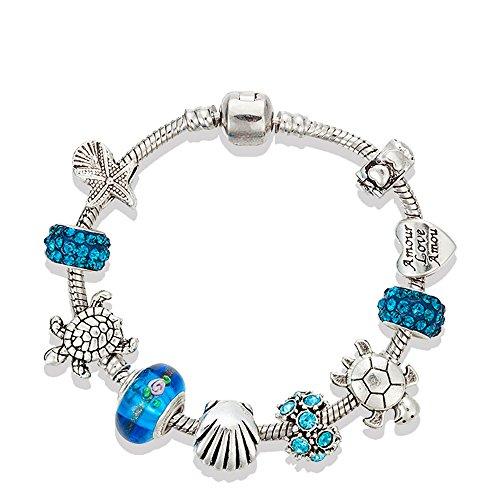 Europäischen Ocean Beach Charme Perlen Armband 19,1cm für Damen und Teenager Mädchen Meer Seestern Schildkröte Shell Aquamarin Murano Glas Perlen Prime Qualität Geschenk 925Silber plattiert (Garn Manschette)
