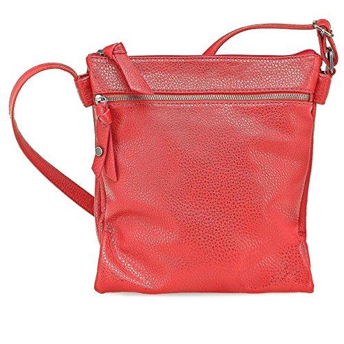 TAMARIS MARLENE Damen Handtasche, Crossover, Umhängetasche, 7 Farben: cigar braun, denim blau, rot, türkis, lime grün, sun gelb oder schwarz Rot