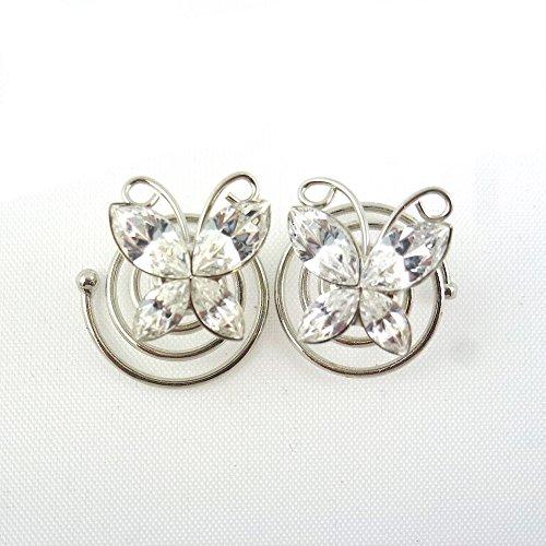 rougecaramel - Accessoires cheveux - Spirale à cheveux en cristal pour mariage 2pcs - blanc