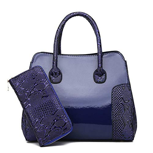 YZJLQML Lady bagsMessenger Tasche weibliche Handtasche Lackleder helles Gesicht Mutter Schulter geschlungen Mobile Handtasche @Blue