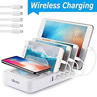 allcaca Charging Station Multi 5 Port with Wireless Charging Pad, Charging Dock Organizer Removable Baffles for iPhone, iPad, Samsung and other Devices, 5 USB Cable Included, White