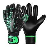 Brace Master Keepershandschoenen met Uitstekende Vinger- en Grip Bescherming, 3 + 3 mm Voetbaldoelmanhandschoen Voor Heren en Dames, Training en Wedstrijd (8, Black-Green)