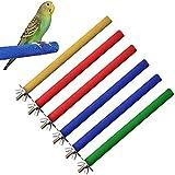 Hcpet Perca de Pájaro, 6PCS Palo para Pájaros, Juguetes para Pajaros, Columpio de Pájaros