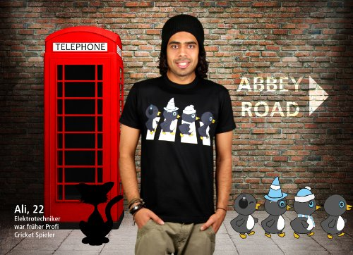 The Penguine Abbey Road - Herren T-Shirt von Kater Likoli Deep Black