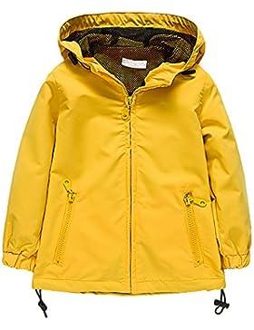BOZEVON Color sólido Abrigo Impermeable Chaqueta de Capa con Capucha de Manga Larga de Niños, Amarillo / Rojo