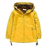 BOZEVON Kinder Jungen Mädchen Reißverschluss Winddichte & Wasserdichte Outwear Coat Jacken Einfarbig, Gelb