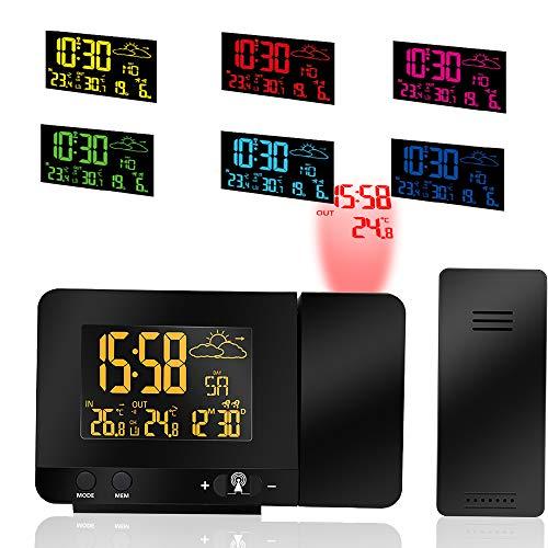 ALLOMN Despertador de Proyección Digital, Temperatura Interior y Exterior, Pronóstico del Tiempo...