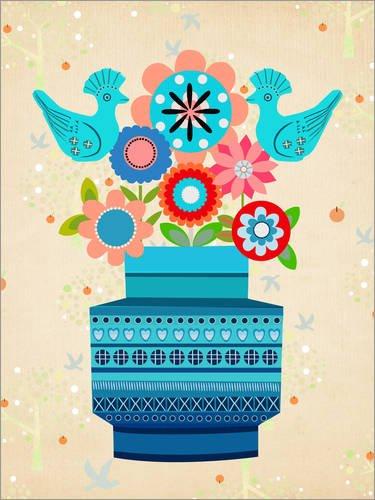 Holzbild 90 x 120 cm: Bitossivase with Flowers von Elisandra Sevenstar