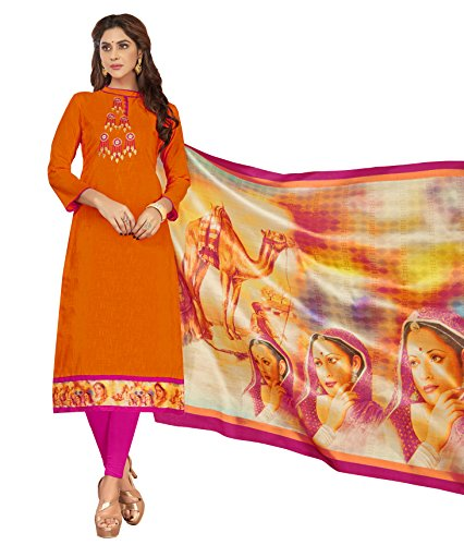 Priyavadhu Women's Slub Cotton straight Unstitched Salwar kameez Dress material (BLMHR1005_Orange_Free Size)