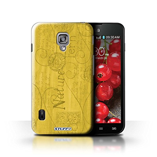 Kobalt® Imprimé Etui / Coque pour LG Optimus L7 II Dual / Violet / Orange conception / Série Motif Nature Jaune