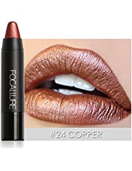 Metallic Lipstick Rose Gold,Molie Metal Matte Lip Crayon Long Lasting Waterproof