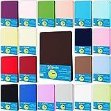 Style Heim Jersey Spannbettlaken Spannbetttuch 100% Baumwolle 140x200-160x200 cm Farbe Schokobraun