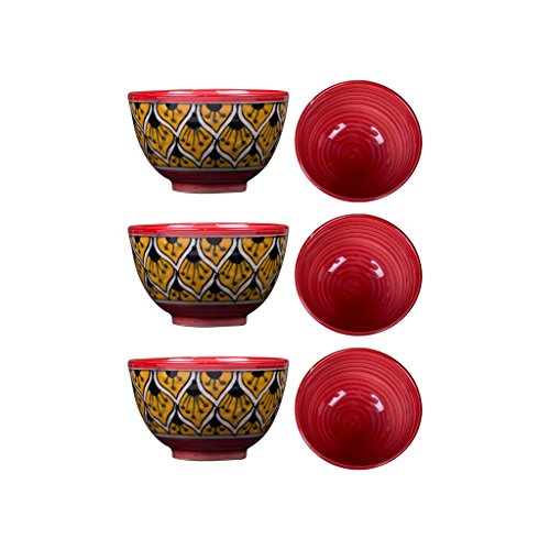 Dining Dessert Bowl Ceramic/Stoneware in Orange Morocco Handmade By Caffeine-Set of 6