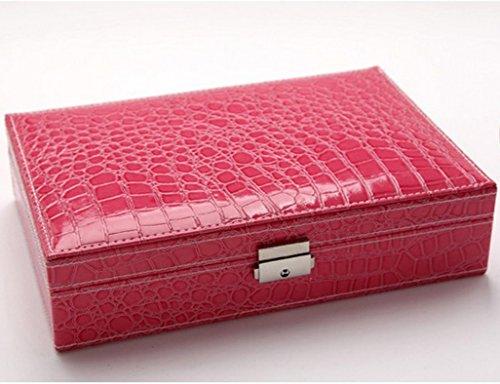 Étui cosmétique HWF Boîte à Bijoux en Cuir Organisateur (Couleur : F)