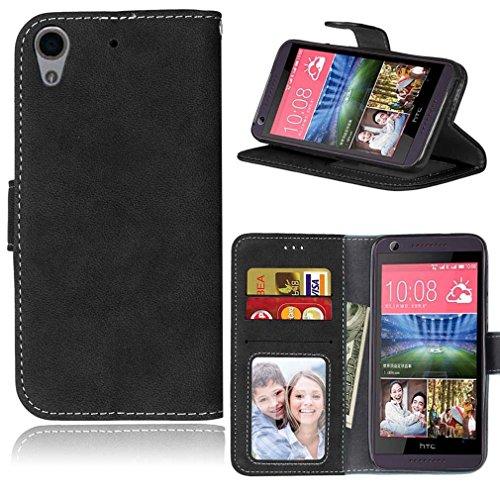 LMAZWUFULM Hülle für HTC Desire 650 / 626G / 628 (5,0 Zoll) PU Leder Magnet Brieftasche Lederhülle Retro Gefrostet Design Stent-Funktion Ledertasche Flip Cover für HTC 650 / 626G / 628 Schwarz