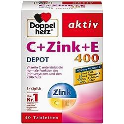 Doppelherz C + Zink + E 400 DEPOT Tabletten – Nahrungsergänzungsmittel mit Vitamin C zur Unterstützung der normalen Funktion des Immunsystems mit Depot-Wirkung – 1 x 40 Tabletten