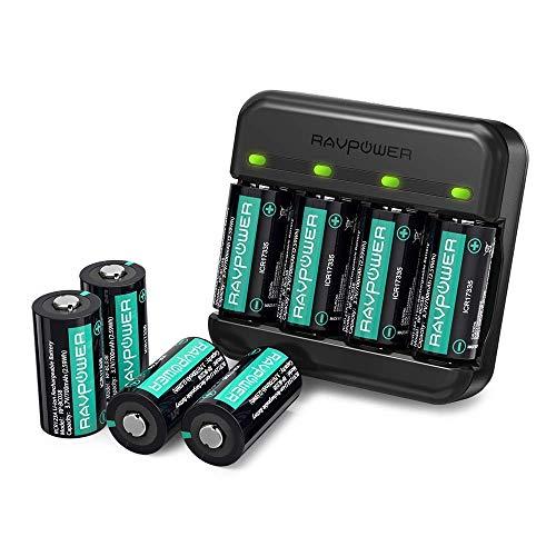 RAVPower Batteria Ricaricabile 8 Pezzi 700mAh Caricabatterie Arlo per Videocamere di Sicurezza Wireless Arlo VMC3030 VMK3200 VMS3330 3430 3530