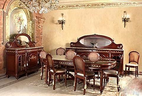 Dîner baroque de style antique table chaises réplique vitrine