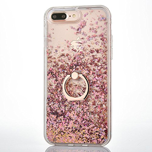 iPhone 7 Plus / iPhone 8 Plus Case [With Tempered Glass Screen Protector],Mo-Beauty Flowing Liquid Floating Bling Shiny Sparkle Glitter Case Cover For Apple iPhone 7/8 Plus (Rose gold)