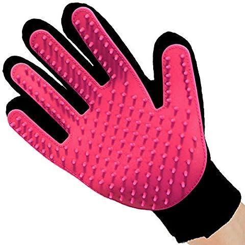 Longwu Gant de brosse à main pour animaux de compagnie Silicon avec outil de massage à 5 doigts Retirer les cheveux supplémentaires 2PCS / One Pair Rose