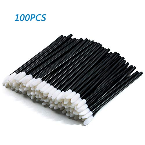 MOOKLIN 100Pcs/Set Disposable Lip Brushes,Make Up Brush Lipstick Lip Gloss Wands Applicator Perfect Makeup Beauty Tool Kits (Black)
