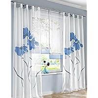 1er de Pack cortina floral cortina trabillas con flores impresión transparente Voile Cortina, tela, azul, BxH 150x145cm