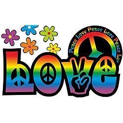 Diseño Floral Pegatinas - Amor y paz del arco iris - Love and Peace 04