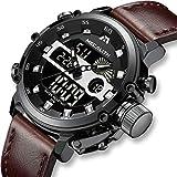 Herren Uhren Militär Sport Wasserdichte Chronograph Analog Digital Groß Armbanduhr Männer Dual Display LED Licht Stoppuhr Shock Resistant Casual Armbanduhren