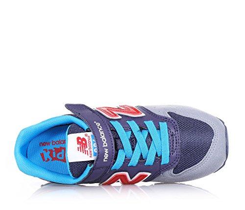NEW BALANCE - Basket bleue et grise en suède et tissu, avec fermeture en velcro, lacets élastiques, logo latéral et à l'arrière, coutures visibles et semelle en caoutchouc, garçon, garçons Gris