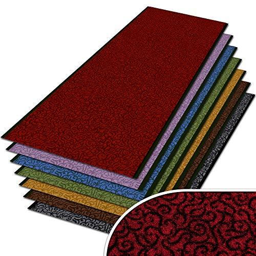 Auf Einem Acryl-teppich (Schmutzfangläufer mit Schnörkelmuster | Schmutzfangmatte Meterware nach Maß | Qualitätsprodukt aus Deutschland | als Flurläufer, Küchenläufer, Teppichläufer etc. | Läufer in Rot (90 x 200 cm))