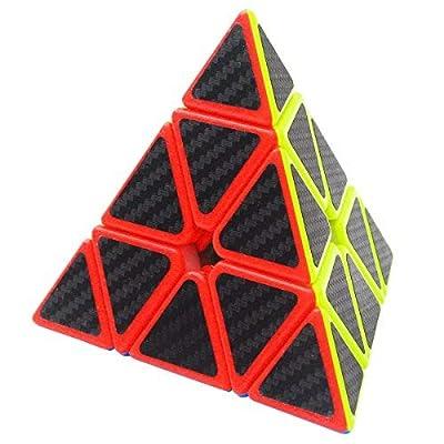 Triángulo Pyraminx Puzzle Cube Coolzon® Pyramid Cubo Magico con Pegatina de Fibra de Carbono Velocidad de Coolzon