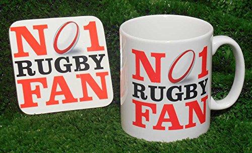 Nr. 1 Rugby Fan-Tasse und Untersetzer