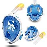 Dastrues Intégral Plongée Masque Ensemble Silicone Antibrouillard Natation Masques Tuba Sec Kit pour Les Enfants Adulte - Bleu, L-XL