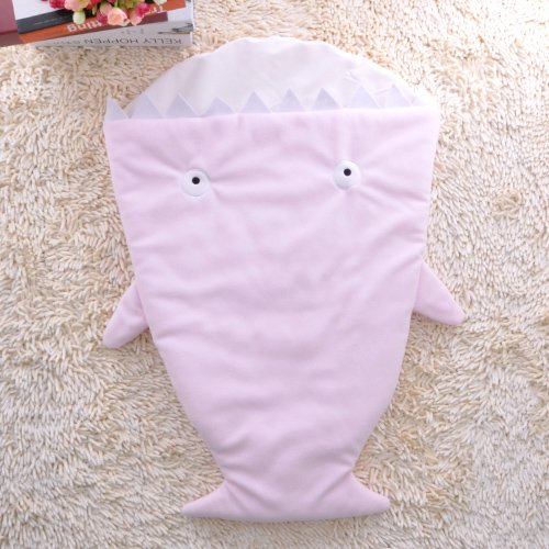GreForest Cartoon Shark Baby Schlafsack Blue Polar Fleece Anti-Kicking Baby Swaddle