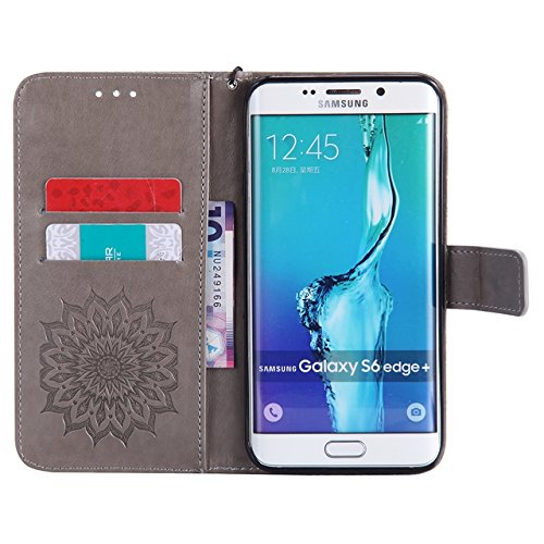 YHUISEN Galaxy S6 Edge Plus Case, Sun Flower Druck Design PU Leder Flip Wallet Lanyard Schutzhülle mit Card Slot / Stand für Samsung Galaxy S6 Edge Plus ( Color : Purple ) Gray