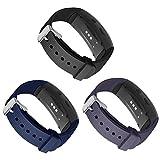 Kmasic Kompatibel Gear Fit 2 Pro / Fit2 Armband, Silikon Bänder Ersatzband für Samsung Gear Fit 2 & 2 Pro Tracker- (3 Pack-Schwarz/Blau /Grau)