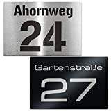 Metzler-Trade® Hausnummer aus Edelstahl - Schild mit Nummer und Straßenname - inkl. Beschriftung - Befestigungsmaterial optional - Wandmontage (Edelstahl)