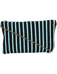 Evergreen Handmade Strips Pattern Rug Diwaah Zip Top Clutch Purse-Sling Bag-Cross Body Bag (Multicolored)
