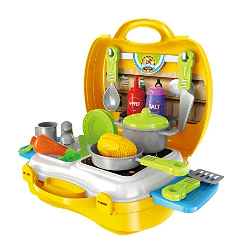 Children Cooking Kit, Kidshobby Kids Kitchen Set Pretend Role Play Toys for Boys and Girls, Premium 23 Pieces Set with Carry Case