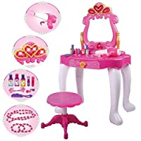 deAO Dressing Vanity Table Play Set – Lights and Sound Includes Mirror, Stool, Hairdryer and Accessories