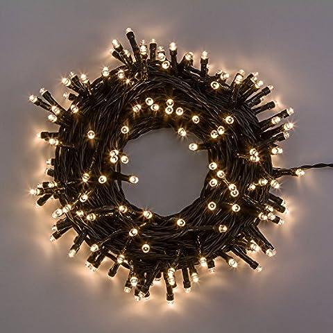 Catena 38,2 m, 540 led bianco caldo, cavo verde, con memory controller, luci decorative, luci natalizie, catena per albero di Natale
