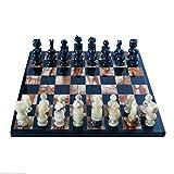 Ajedrez completa de ajedrez marquetería Mármol Negro Ónice verde Black Marble Green Onix Chessboard chessset 35x 35cm Classic Home Design